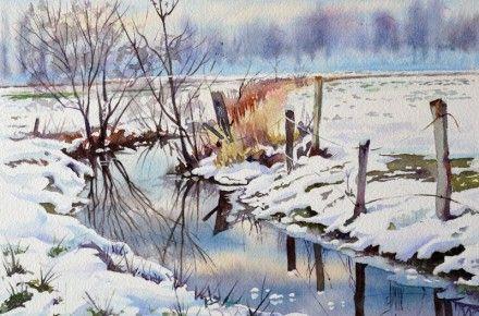 42 Aquarelle Chemin Neige Finale Peinture Paysage Aquarelle