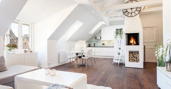 skandinavischer wohnstil und wohnzimmer mit dachschr ge wohnen pinterest skandinavischer. Black Bedroom Furniture Sets. Home Design Ideas