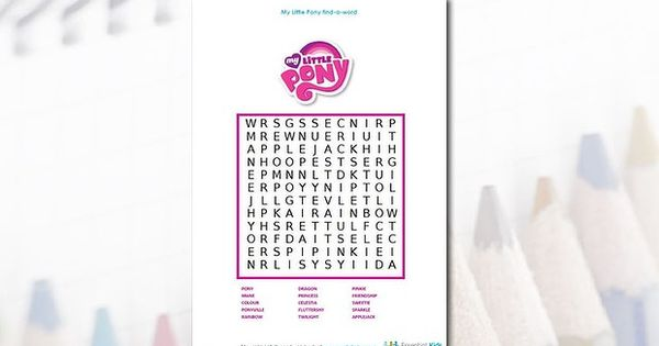 My Little Pony Word Search Jessica Pinterest Word