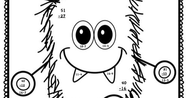 2Digit Addition with Regrouping Coloring Pages Math