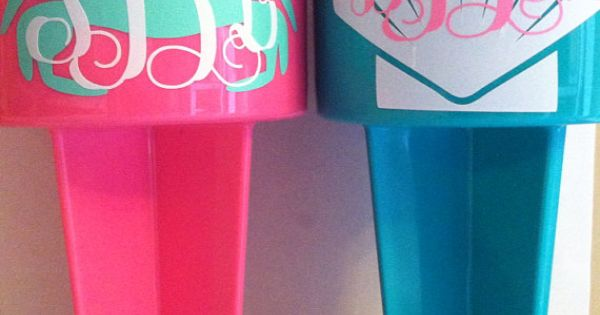 Monogram beach spiker on etsy wedding for Cuartos para ninas tumbler