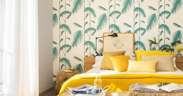 En el dormitorio cama de mobles palafrugell papel pintado - Papel pintado la maison ...