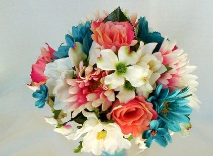 Beach Wedding Flowers Coral Bridal Bouquet Turquoise by AmoreBride, | http://weddingphotography92.blogspot.com