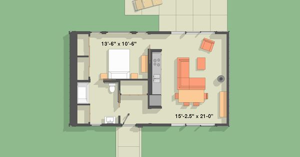 Modern style house plan 1 beds 1 baths 792 sq ft plan for Adu house plans