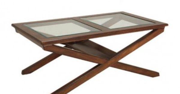 Krysset sofabord mørkbeiset Helset Møbler