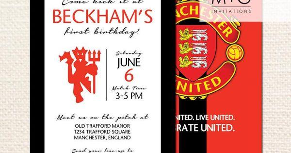 Manchester United F C Birthday Party Invitation Digital Printable Invite In 2021 Printable Invitations Birthday Party Invitations Manchester United