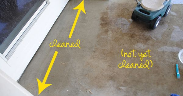 Diy concrete cleaner you 39 ll make a paste of 3 parts baking for Bleach on concrete floor