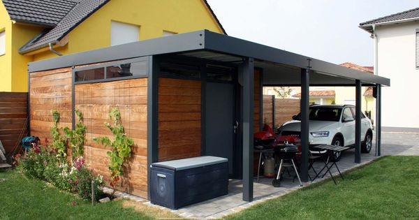 design metall carport aus holz stahl glas mit ger teraum. Black Bedroom Furniture Sets. Home Design Ideas
