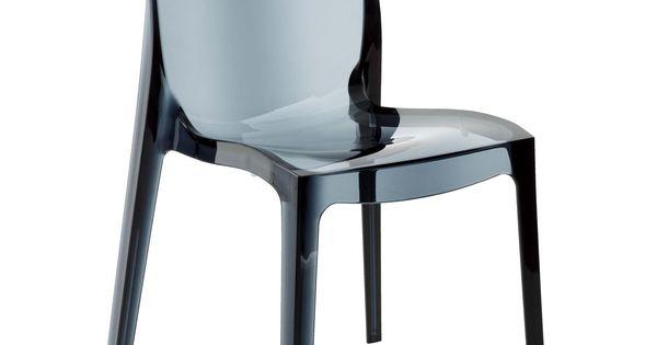 chaise design transparente grise gris transparent becca. Black Bedroom Furniture Sets. Home Design Ideas