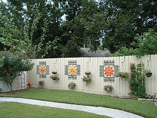 Decorated Fence Backyard Fence Decor Backyard Fences Fence Decor
