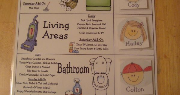 kid chore chart This has a link to the blog with a