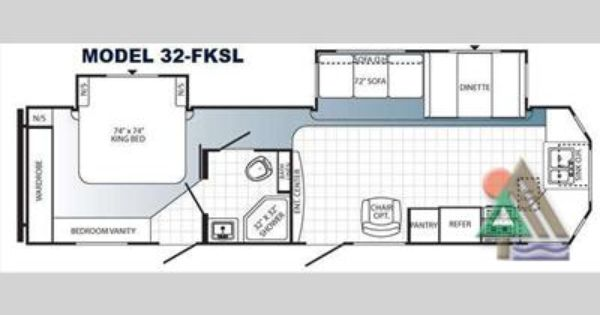 Travel Trailer With A King Bed Slide Out One Of Our Favorite Floor Plans There Are Windows All Aroun Bed With Slide Travel Trailers For Sale Travel Trailer