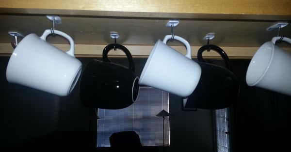 I Used Command Strips And Hooks To Hang My Mugs From The