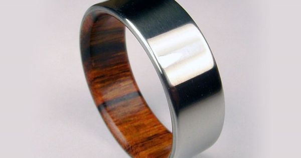 Rosewood & Titanium Ring Bent Wood and Titanium Wedding Ring. Good idea