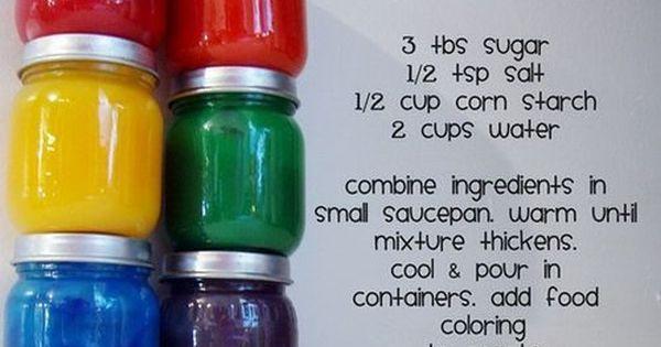 Homemade finger paints… easy kids craft
