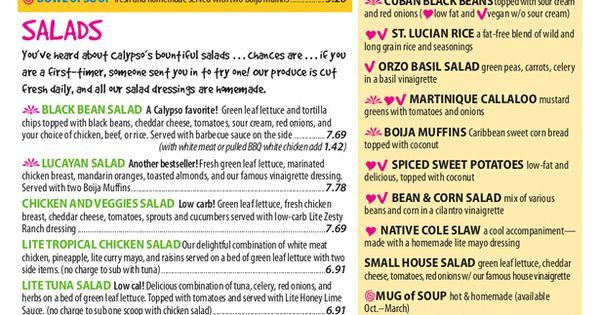 Calypso Cafe Menu Nutrition