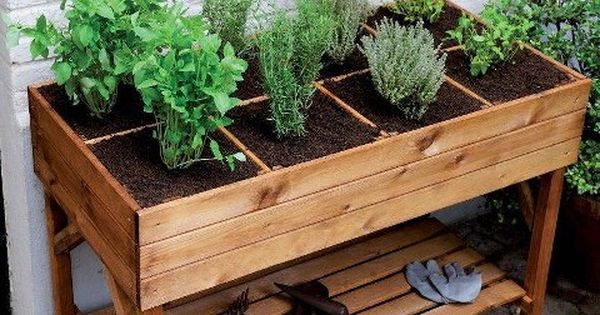 Herb Planter Box Outdoor: Raised Herb Garden Planter
