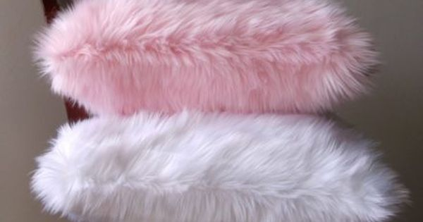 Baby Pink Faux Fur Throw Pillow Cover Handmade One Of A
