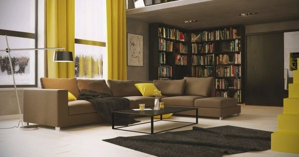 Living With Library And Yellow Accents | Living Room Designs ... Wohnzimmer Braun Gelb