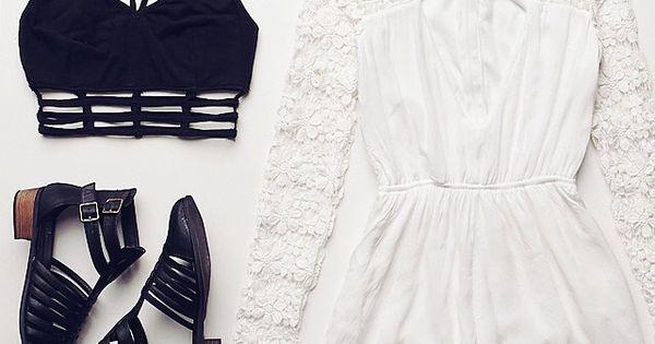 Black spaghetti crop top, lace romper & black gladiator sandals.