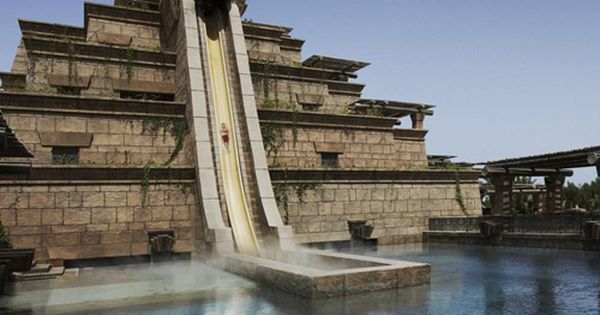 Water slide into a shark pool!! 'Leap of Faith' slide at Atlantis