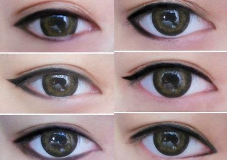 Different ways of applying eyeliner to influence the shape of your eyes...good