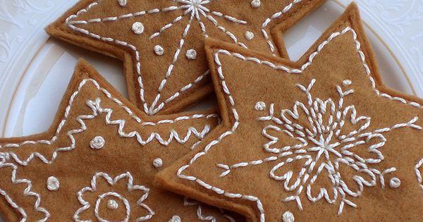 Felt Gingerbread Biscuits Star Group Fieltro Y Navidad