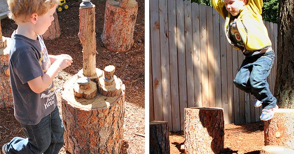 Natural play spaces logs - Modern Parents Messy Kids