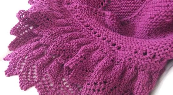 Knitting Garter Stitch Left Handed : Wine Garter Stitch Hand Knit Shawl With Ruffled by centerofbalance, USD125.00 ...