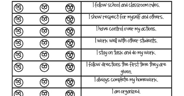 Student self reflection once a week to monitor behavior for California form 3588