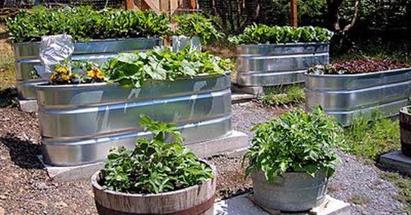 farm trough gardens; easy idea for raised-bed vegetable garden