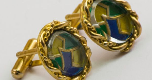 Vintage Cufflinks Spring Colored Stained Glass by CuffsandClips, $20.30