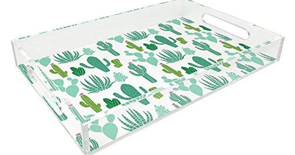 Isaac Jacobs Acrylic Tray 11x17 Green Cactus Isaac Jac Acrylic Serving Trays Decorative Storage Acrylic Tray