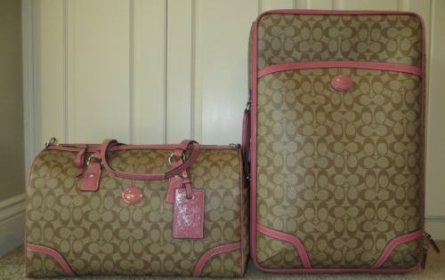 discount coach designer bags 5s1r  Coach Luggage Travel Set  Coach Signature Roseberry Peyton Travel Bag  Duffle Suitcase Wheelie