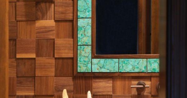 Wood tiles to frame mirror