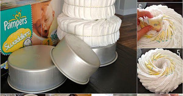Diaper Cake Tutorial. Baby shower idea.