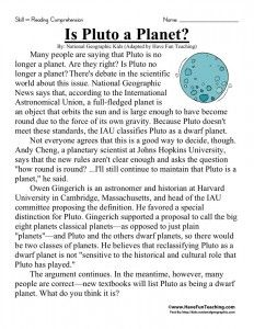 Is Pluto A Planet With Images Sixth Grade Reading Reading