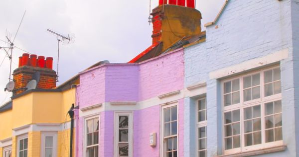 A colorful London street..I wanna live in the pinkish purple one!!! :)