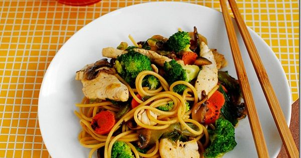 Easy Chicken Lo Mein. A quick and healthy dinner on the table
