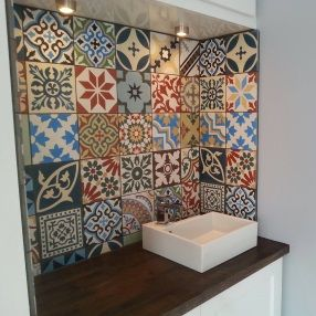 Moroccan Encaustic Tiles On Kitchen Wall Patchwork Tiles