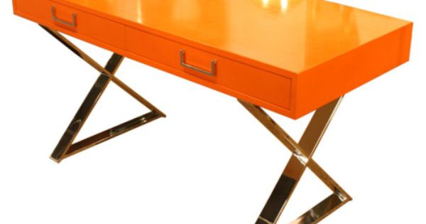 Orange Lacquered Campaign Desk by Milo Baughman