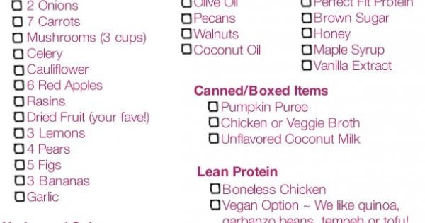 Tone It Up Grocery List -Holiday