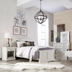 Homestyles Seaside Lodge 5 Piece Hand Rubbed White Twin Bedroom