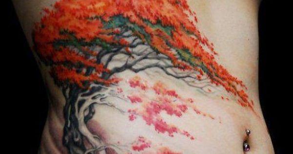 sch ner japanischer bonsai baum tattoo auf rippen. Black Bedroom Furniture Sets. Home Design Ideas