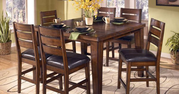 Easton 7pcs cottage square counter height dining room for Dining room tables easton