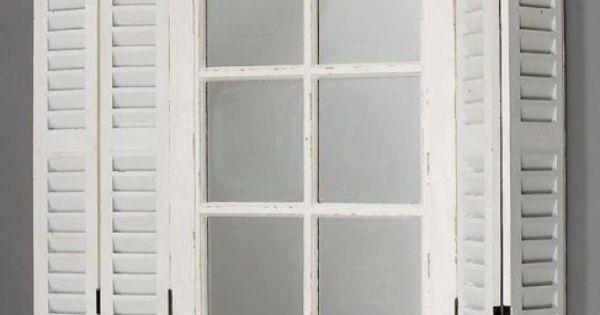 details zu spiegel weiss mit fensterl den wandspiegel holz. Black Bedroom Furniture Sets. Home Design Ideas