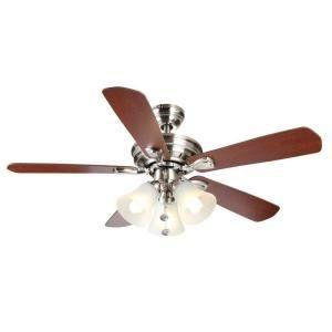 Hampton Bay 44 In Westmount 3 Lights Ceiling Fan Brushed Nickel Brushed Nickel Ceiling Fan Ceiling Fan Ceiling Fan With Light