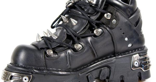 New Rock 106-S1 Unisex Metallic Black Classic Leather Biker Gothic Boots