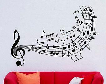 Clave De Sol Musica Pared Calcomanias Notas Por Lollipopdecals