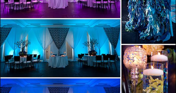 wedding reception: lighting & draping in purple / teal / blue (peacock